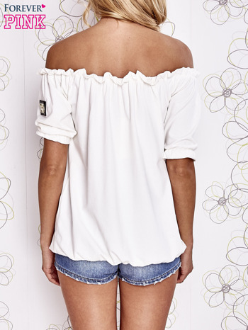 Biała bluzka z hiszpańskim dekoltem                                   zdj.                                  5