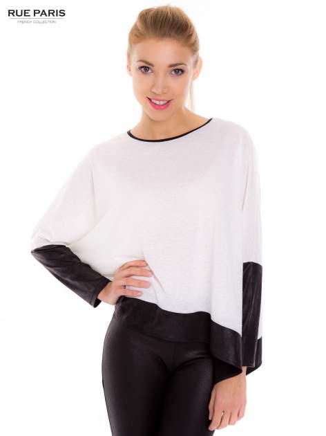 Biała bluzka z kontrastowymi wstawkami                                  zdj.                                  1