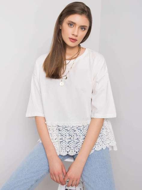 Biała bluzka z koronką Ancona RUE PARIS