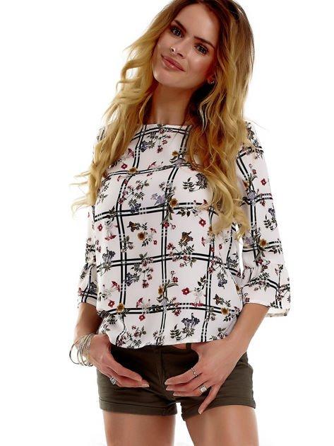 Biała bluzka z motywem kwiatowym                              zdj.                              3