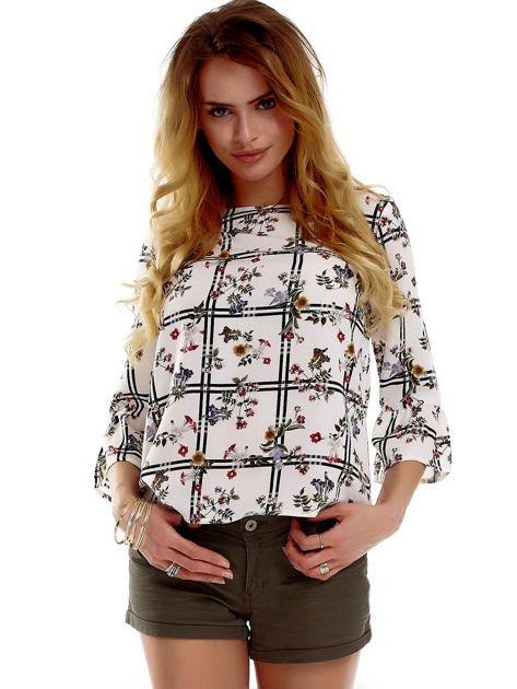 Biała bluzka z motywem kwiatowym                              zdj.                              1