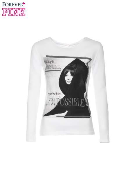 Biała bluzka z nadrukiem Audrey Hepburn                                  zdj.                                  5