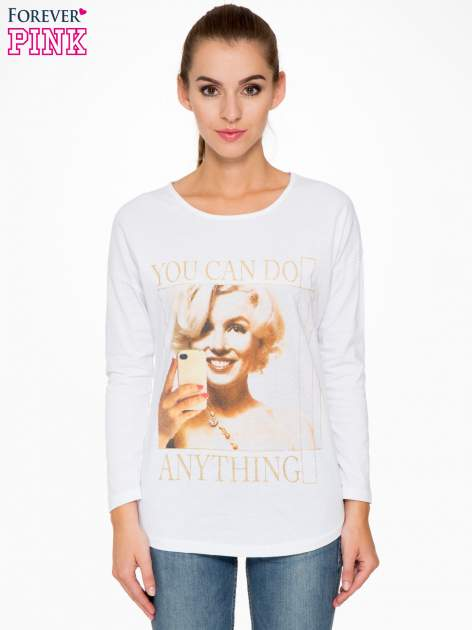 Biała bluzka z nadrukiem Marylin Monroe