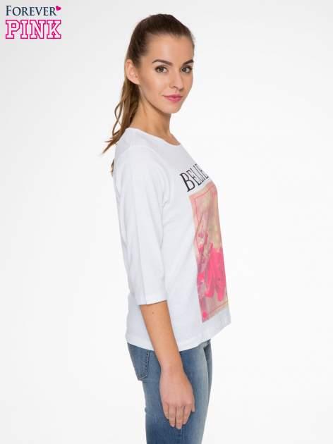 Biała bluzka z nadrukiem róży i napisem BELIEVE                                  zdj.                                  4