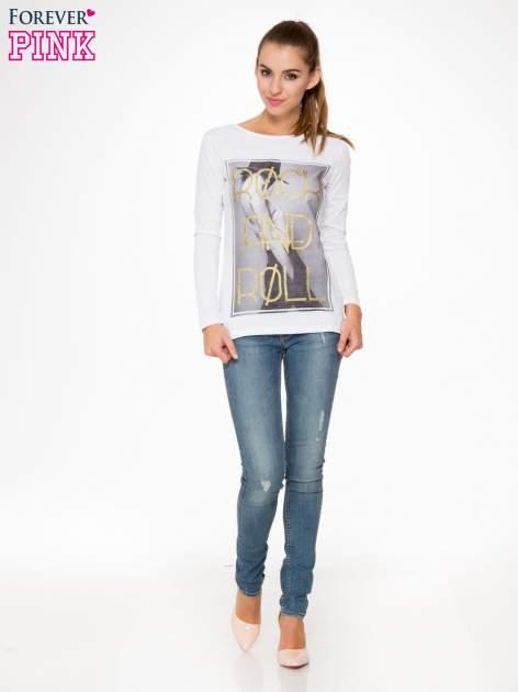 Biała bluzka ze złotym brokatowym napisem ROCK AND ROLL                                  zdj.                                  2