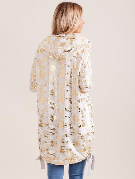 Biała błyszcząca dresowa bluza z kapturem                              zdj.                              2