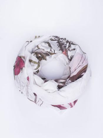 Biała chusta damska w roślinny ornament                                  zdj.                                  1