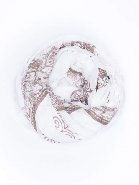 Biała chusta w orientalny wzór i kwiaty                                  zdj.                                  2
