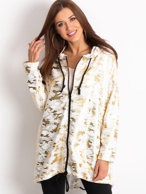 Biała damska bluza z kapturem ze złotym połyskiem                              zdj.                              1