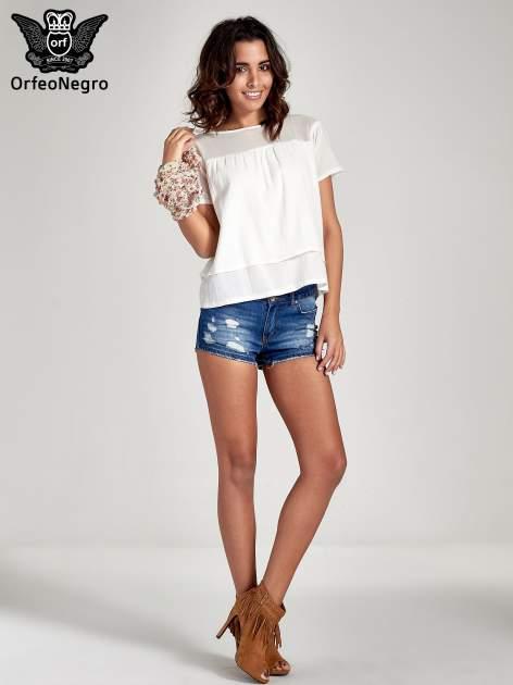 Biała dwuwarstwowa bluzka koszulowa z transparentnym karczkiem                                  zdj.                                  2