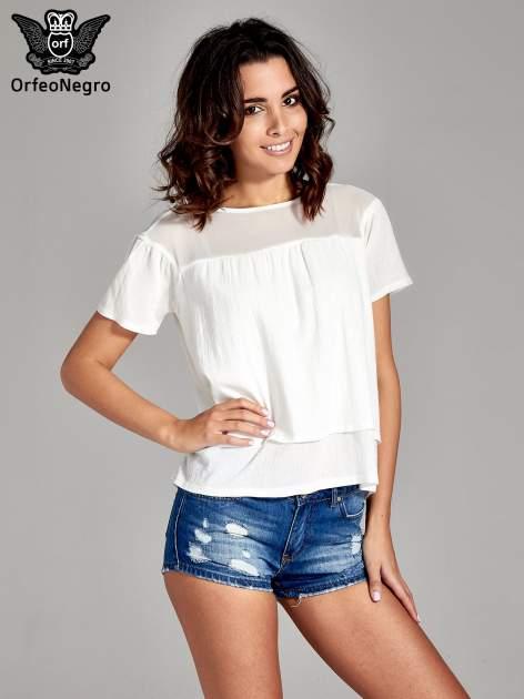 Biała dwuwarstwowa bluzka koszulowa z transparentnym karczkiem                                  zdj.                                  1