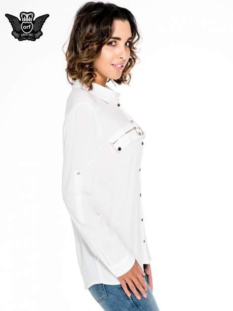Biała elegancka koszula z suwakami i napami                                  zdj.                                  3