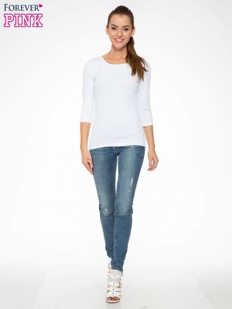 Biała gładka bluza z bawełny z rękawami 3/4                                  zdj.                                  2