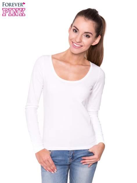 Biała gładka bluzka z długim rękawem