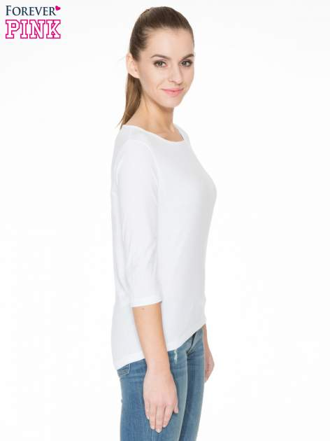 Biała gładka bluzka z łezką z tyłu                                  zdj.                                  3
