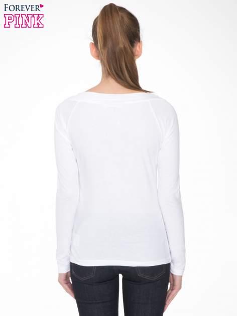 Biała gładka bluzka z reglanowymi rękawami                                  zdj.                                  4