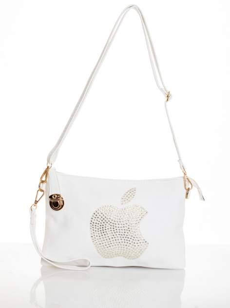 Biała kopertówka z dżetami motyw apple                                  zdj.                                  3