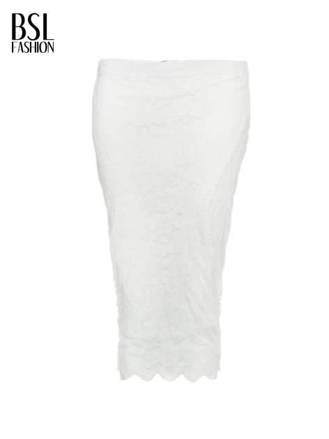 Biała koronkowa spódnica typu tuba za kolano                                  zdj.                                  2