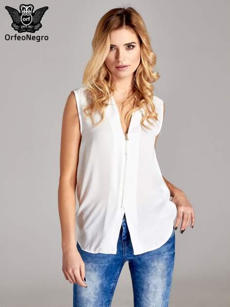 Biała koszula V-neck z suwakiem                                  zdj.                                  1