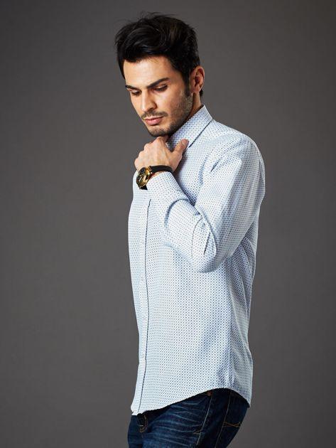Biała koszula męska o prostym kroju w drobny wzór                              zdj.                              3