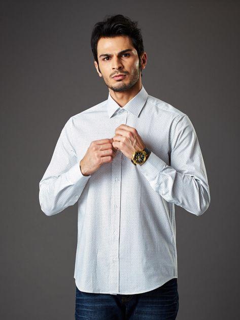 Biała koszula męska regular fit w drobne geometryczne wzory                              zdj.                              1