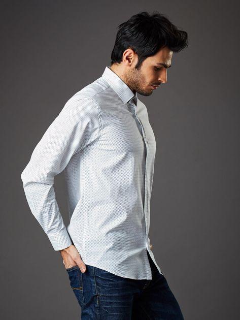 Biała koszula męska regular fit w drobne geometryczne wzory                              zdj.                              5