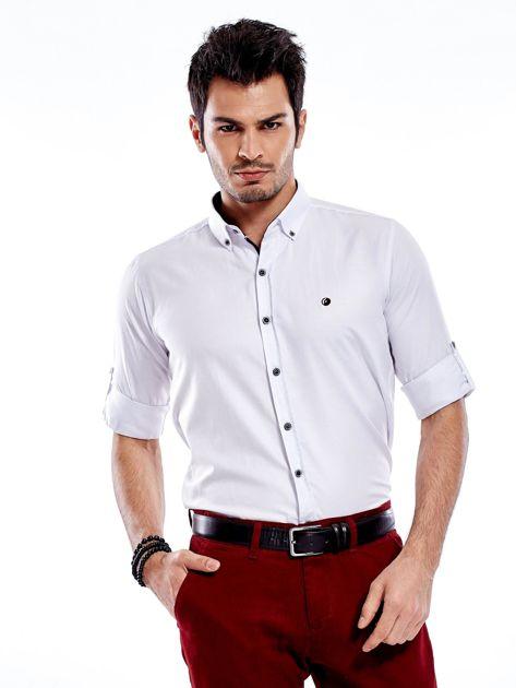 Biała koszula męska regular fit z podwijanymi rękawami                               zdj.                              1