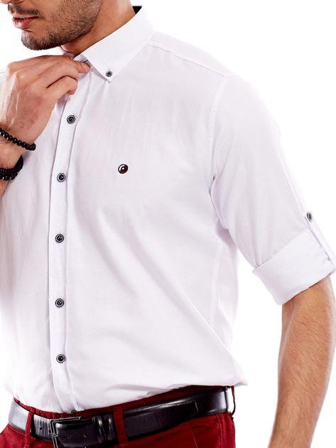 Biała koszula męska regular fit z podwijanymi rękawami                               zdj.                              7