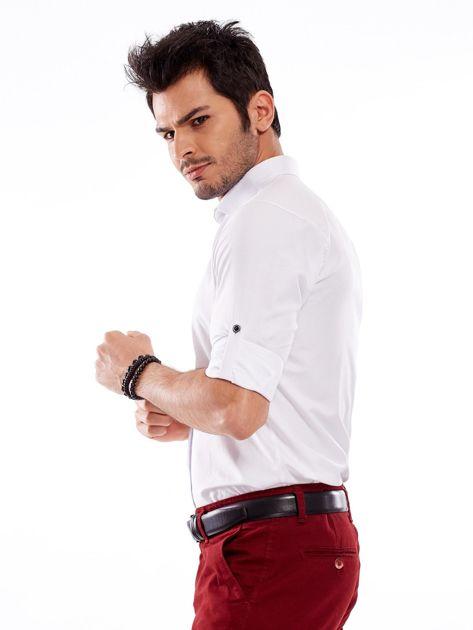 Biała koszula męska regular fit z podwijanymi rękawami                               zdj.                              9