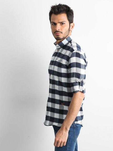 Biała koszula męska slim fit w kratę                              zdj.                              3