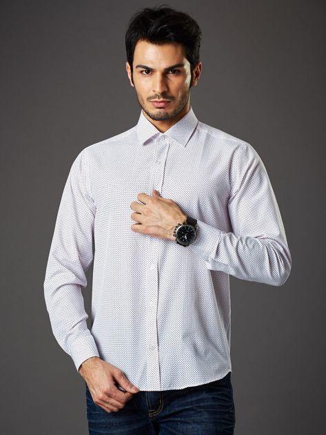 Biała koszula męska w granatowo-czerwone kropki regular fit                              zdj.                              1