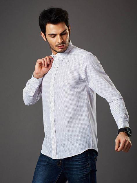 Biała koszula męska w kropki regular fit                              zdj.                              6