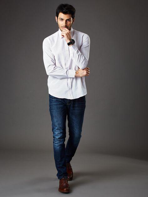 Biała koszula męska w kropki regular fit                              zdj.                              4