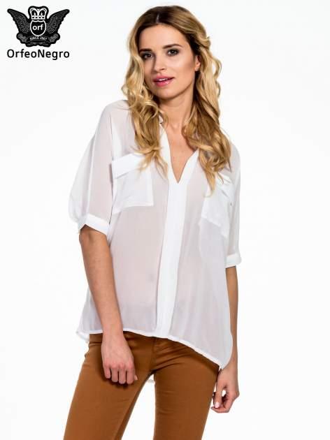 Biała koszula mgiełka z kieszonkami