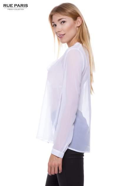 Biała koszula mgiełka z kokardą                                  zdj.                                  3