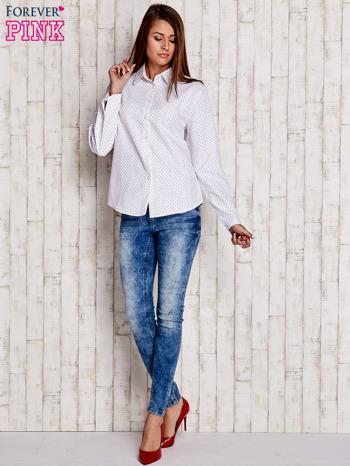 Biała koszula w drobne listki                                  zdj.                                  4
