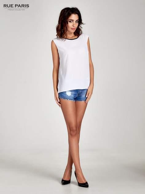 Biała koszula w kropki z kontrastową lamówką                                  zdj.                                  7