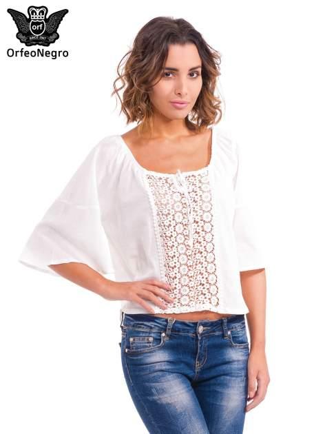 Biała koszula z ażurowym przodem                                  zdj.                                  1