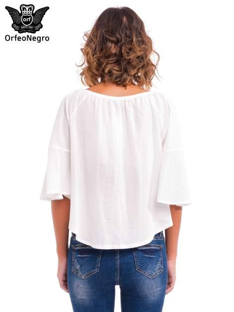 Biała koszula z ażurowym przodem                                  zdj.                                  4