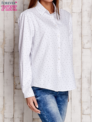Biała koszula z delikatnym wzorem                                  zdj.                                  3