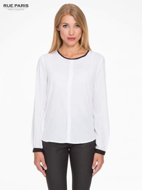 Biała koszula z kontrastową lamówką przy dekolcie i mankietami                                  zdj.                                  1