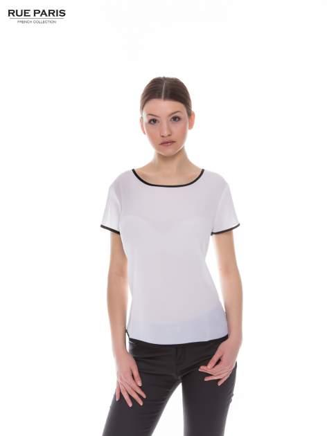 Biała koszula z krótkim rękawem i kontrastową lamówką                                  zdj.                                  1