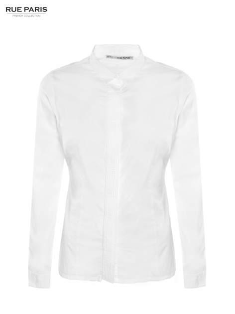 Biała koszula z krytą listwą i guzikami perełkami                                  zdj.                                  2