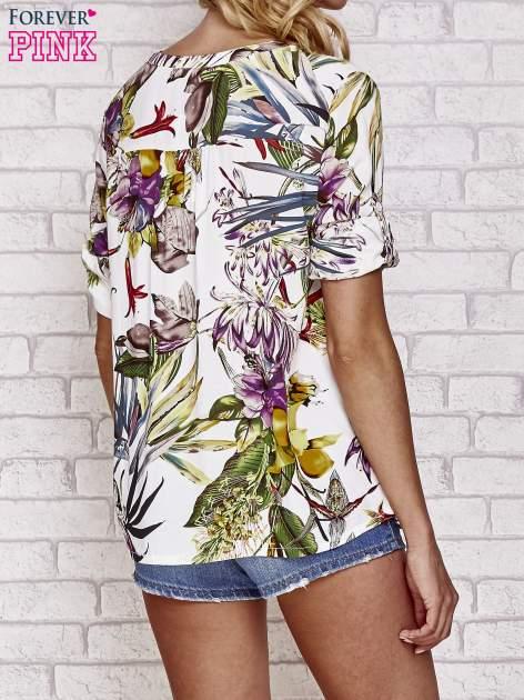 Biała koszula z kwiatowym nadrukiem                                  zdj.                                  4