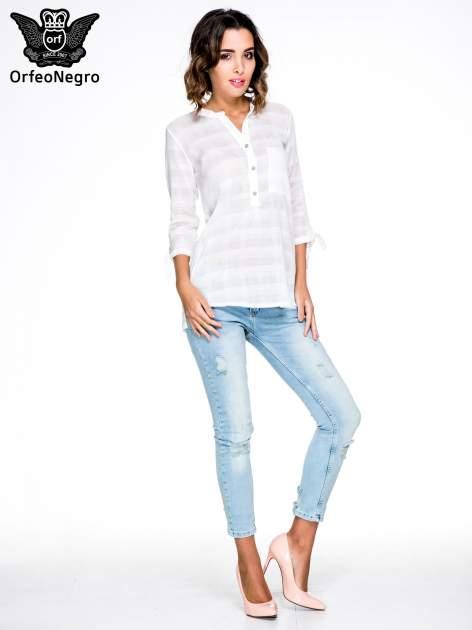 Biała koszula z wiązaniem przy rękawach                                  zdj.                                  2