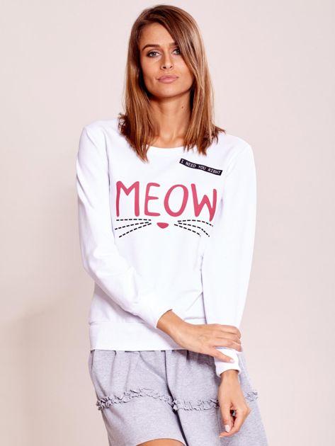 Biała lekka bluza z napisem MEOW                              zdj.                              5