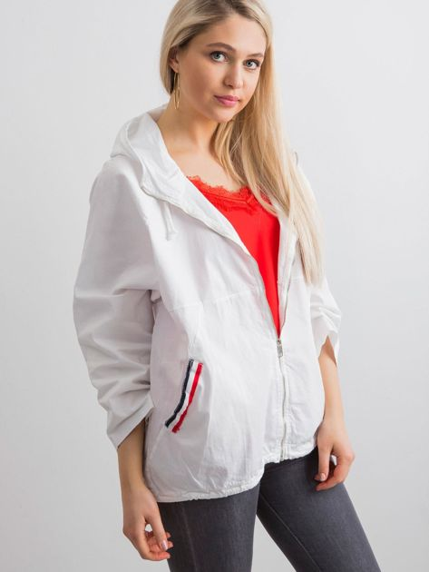 Biała luźna kurtka z kapturem                              zdj.                              5