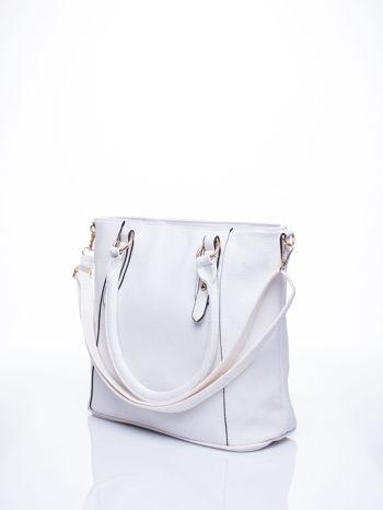 Biała miejska torba z ozdobnymi klamrami                                  zdj.                                  4