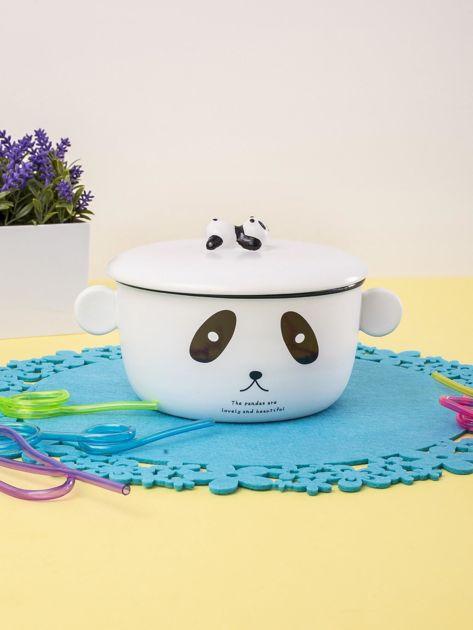 Biała miska ceramiczna z motywem pandy                              zdj.                              5