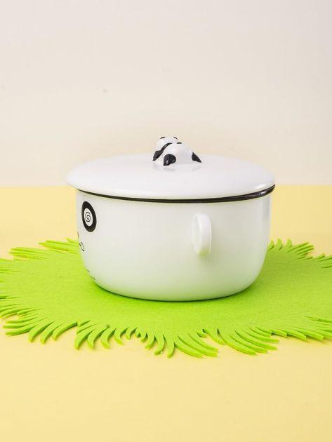 Biała miska ceramiczna z pokrywką                              zdj.                              4